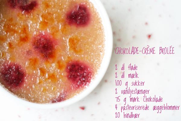 Chokolade-crème brûlée med hindbær