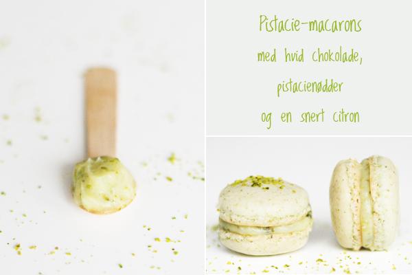 Macarons med pistacienødder og hvid chokolade