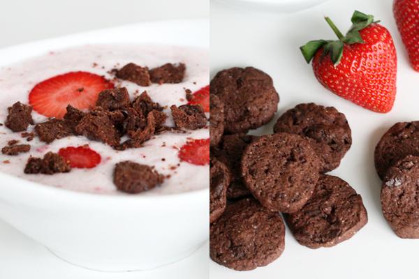 Jordbærkoldskål med chokoladekammerjunker