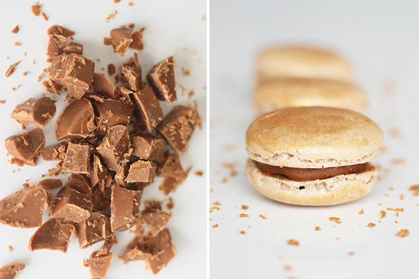 Macarons med karamelliseret hvid chokolade