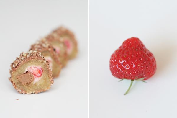 Chokolade sushi med kaffe, nougat og jordbær