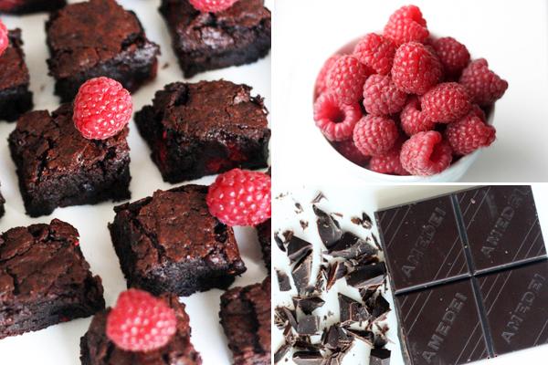 Brownies med hindbær