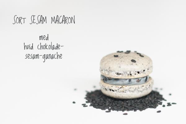 Sort sesam macaron med hvid chokolade sesam ganache