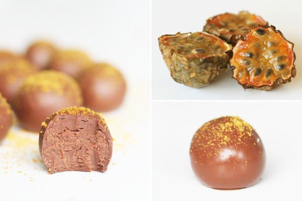 Chokoladetrøfler med passionsfrugt
