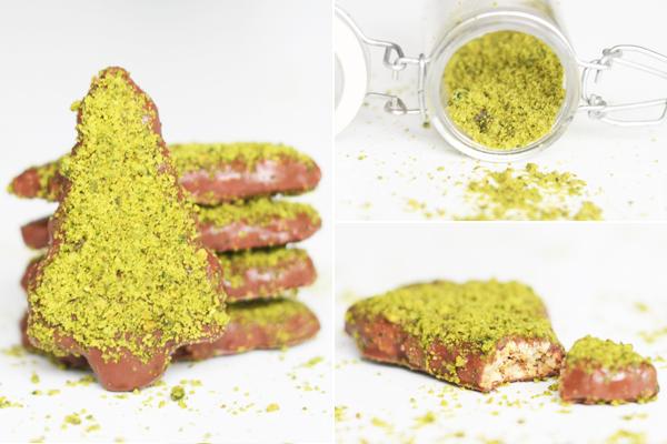 Juletræer - cookies med pistacienødder, citron og mælkechokolade