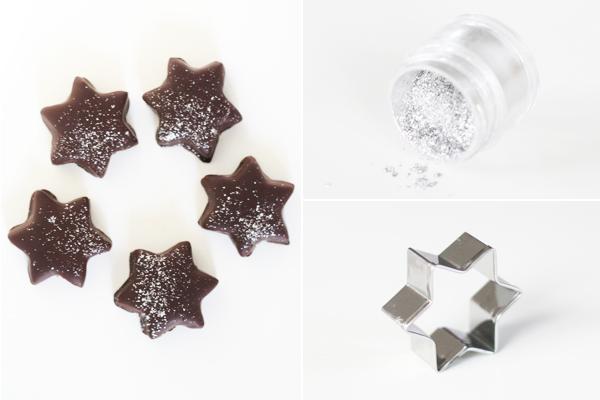 Søde stjerner med mint og mørk chokolade