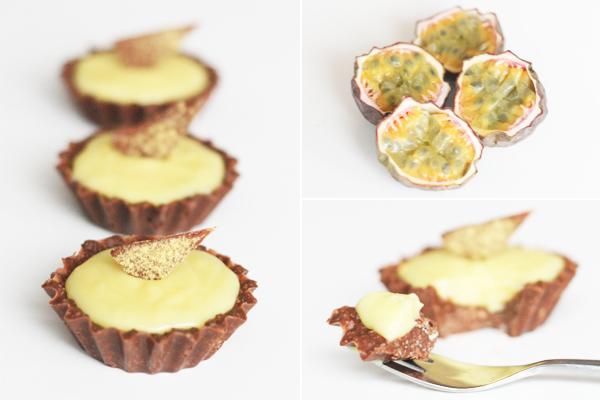 Passionsfrugt petit four med mælkechokolade og pufsukker