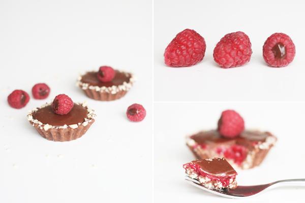 Tærte med chokolade og hindbær