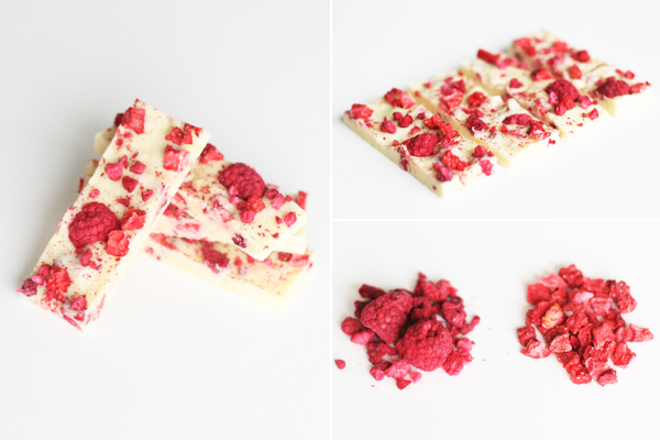 Chokoladebrud med hvid chokolade, røde bær og pufsukker