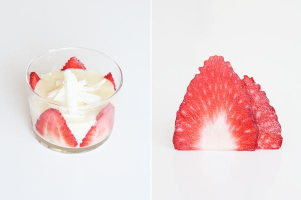 Sommerdessert: hvid chokolademousse med jordbær