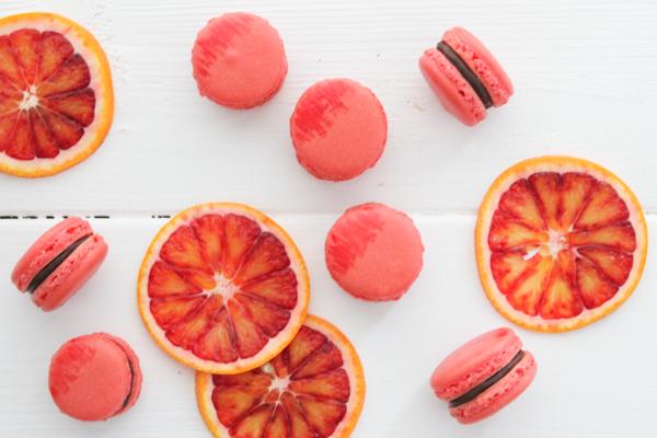 Macarons med blodappelsin