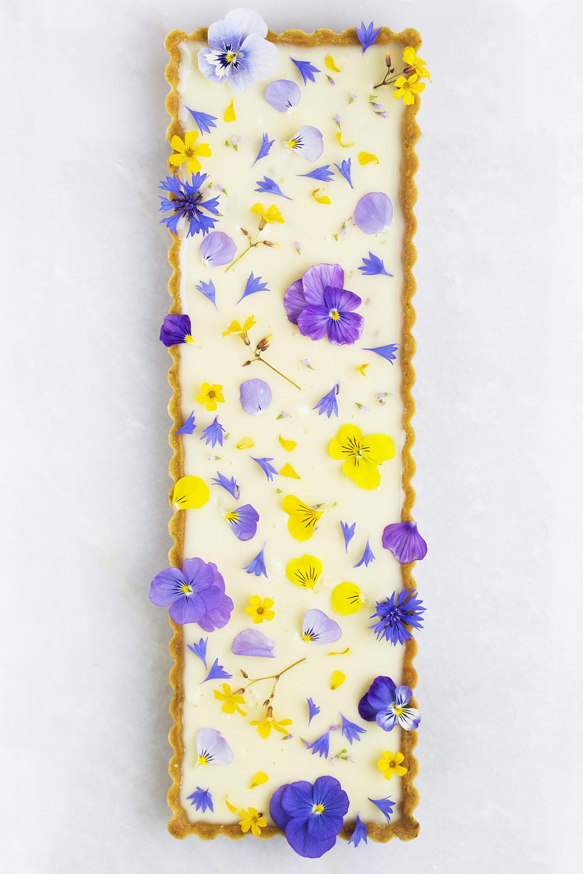 Blomstertærte rabarber frangipane pistacie